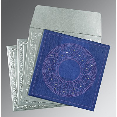 Blue Wooly Screen Printed Wedding Card : CD-8214Q - IndianWeddingCards