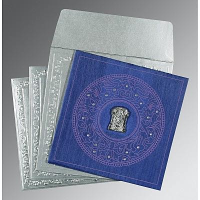 Blue Wooly Screen Printed Wedding Card : CSO-8214Q - IndianWeddingCards