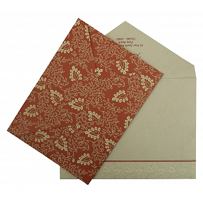 Brick Red Matte Paisley Themed - Screen Printed Wedding Invitation : CC-811B - IndianWeddingCards
