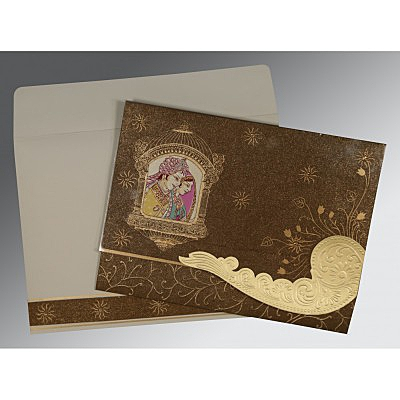 Brown Handmade Shimmer Embossed Wedding Card : CW-1405 - IndianWeddingCards