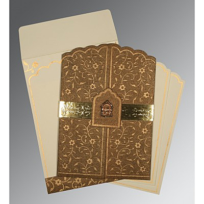 Brown Handmade Shimmer Floral Themed - Embossed Wedding Invitation : CS-1422 - IndianWeddingCards