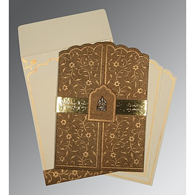 Brown Handmade Shimmer Floral Themed - Embossed Wedding Invitation : CW-1422 - IndianWeddingCards