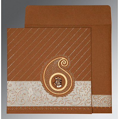 Brown Matte Embossed Wedding Card : CC-1178 - IndianWeddingCards
