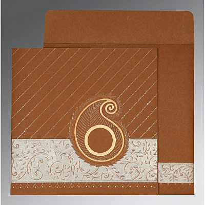 Brown Matte Embossed Wedding Card : CD-1178 - IndianWeddingCards