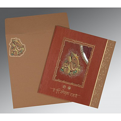Brown Matte Embossed Wedding Card : CW-2145 - IndianWeddingCards