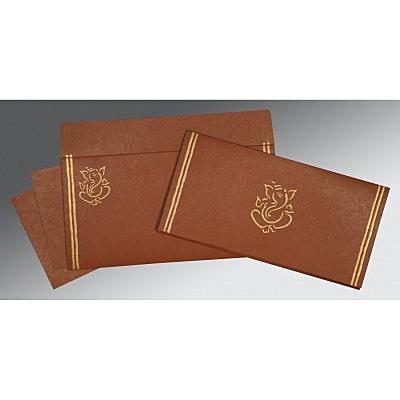 Brown Matte Embossed Wedding Invitations : CW-2182 - IndianWeddingCards