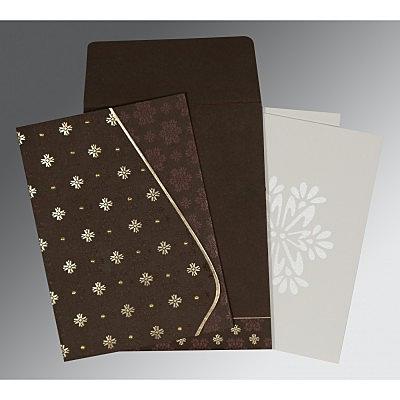 Brown Matte Floral Themed - Foil Stamped Wedding Invitation : CIN-8237L - IndianWeddingCards