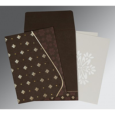 Brown Matte Floral Themed - Foil Stamped Wedding Invitations : CW-8237L - IndianWeddingCards