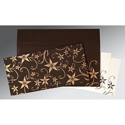 Brown Matte Floral Themed - Screen Printed Wedding Invitations : CD-8225C - IndianWeddingCards