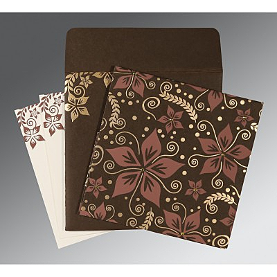 Brown Matte Floral Themed - Screen Printed Wedding Invitation : CD-8240E - IndianWeddingCards