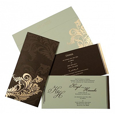 Brown Matte Floral Themed - Screen Printed Wedding Card : CIN-8259C