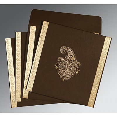 Brown Matte Paisley Themed - Embossed Wedding Invitations : CW-8231D - IndianWeddingCards