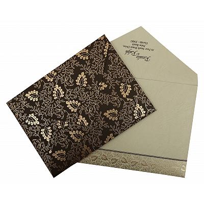 Brown Matte Paisley Themed - Screen Printed Wedding Invitation : CI-811A - IndianWeddingCards