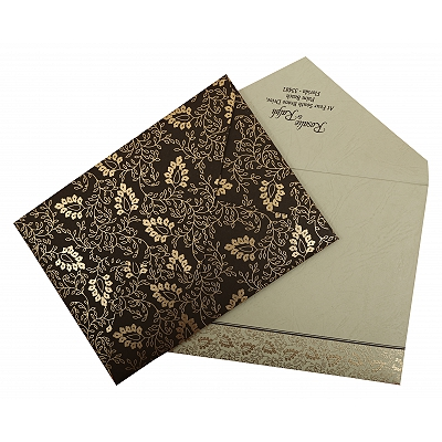Brown Matte Paisley Themed - Screen Printed Wedding Invitation : CRU-811A - IndianWeddingCards