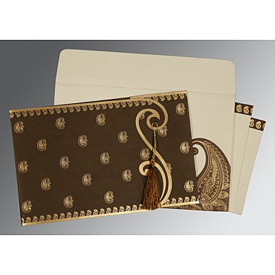 Brown Matte Paisley Themed - Screen Printed Wedding Invitation : CW-8252F - IndianWeddingCards