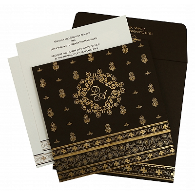 Brown Matte Screen Printed Wedding Invitation : CI-808B - IndianWeddingCards