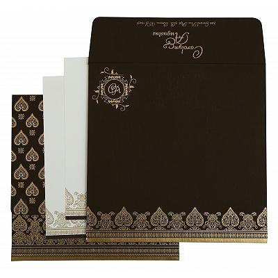 Brown Matte Screen Printed Wedding Invitation : CI-809E - IndianWeddingCards