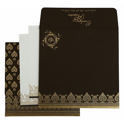 Brown Matte Screen Printed Wedding Invitation : CW-809E - IndianWeddingCards