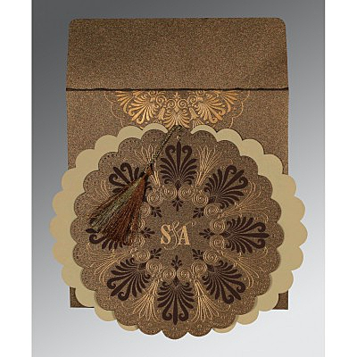 Brown Shimmery Floral Themed - Embossed Wedding Card : CI-8238G - IndianWeddingCards