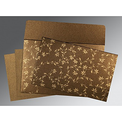 Brown Shimmery Floral Themed - Screen Printed Wedding Invitation : CD-8226N - IndianWeddingCards