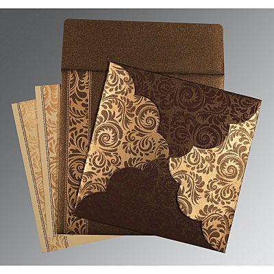 Brown Shimmery Floral Themed - Screen Printed Wedding Card : CD-8235K - IndianWeddingCards