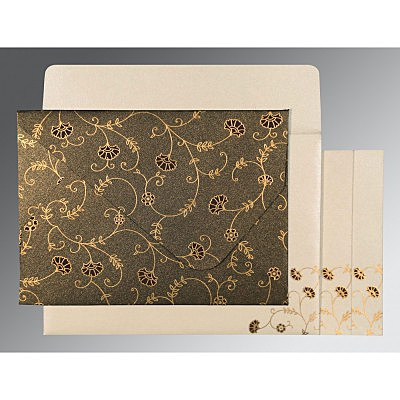 Brown Shimmery Floral Themed - Screen Printed Wedding Invitation : CD-8248C - IndianWeddingCards
