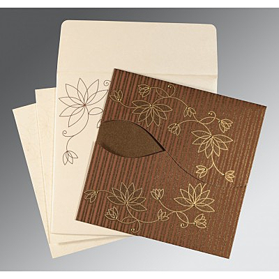 Brown Shimmery Floral Themed - Screen Printed Wedding Invitation : CD-8251F - IndianWeddingCards