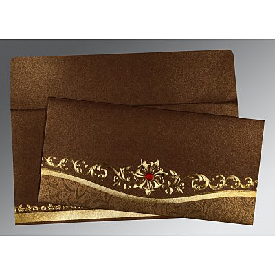 Brown Shimmery Foil Stamped Wedding Invitation : CC-1499 - IndianWeddingCards