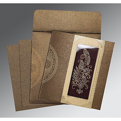 Brown Shimmery Paisley Themed - Foil Stamped Wedding Invitation : CC-8230M - IndianWeddingCards