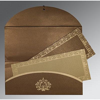 Brown Shimmery Screen Printed Wedding Invitation : CRU-1500 - IndianWeddingCards