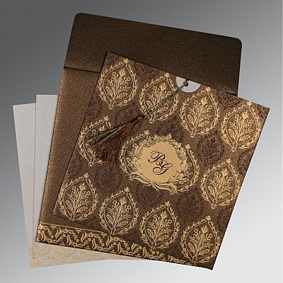 Brown Shimmery Unique Themed - Foil Stamped Wedding Invitations : CW-8249J - IndianWeddingCards