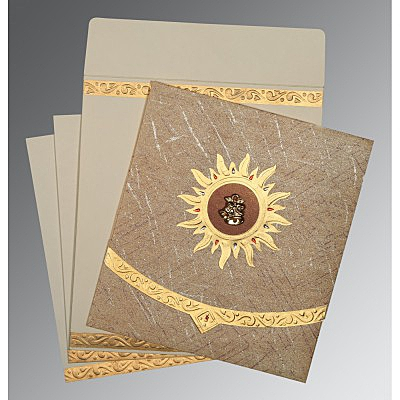 Brown Wooly Embossed Wedding Card : CC-1225 - IndianWeddingCards