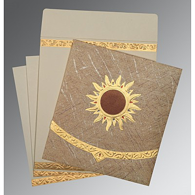 Brown Wooly Embossed Wedding Card : CD-1225 - IndianWeddingCards