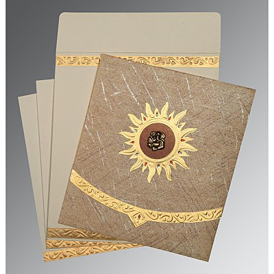 Brown Wooly Embossed Wedding Card : CIN-1225