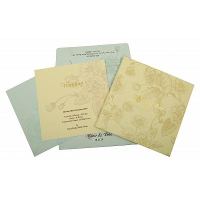 Cream Matte Box Themed - Offset Printed Wedding Invitation : CD-1861 - IndianWeddingCards