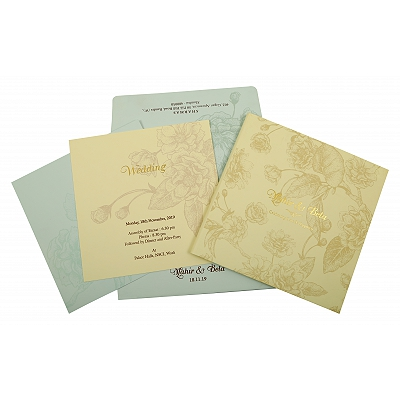 Cream Matte Box Themed - Offset Printed Wedding Invitation : CW-1861 - IndianWeddingCards