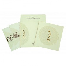 Cream Matte Foil Stamped Wedding Invitation : CW-2297 - IndianWeddingCards