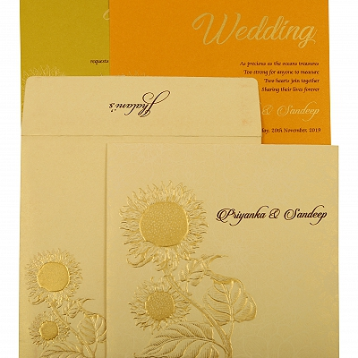 Cream Shimmery Floral Themed - Embossed Wedding Invitation : CD-1899 - IndianWeddingCards