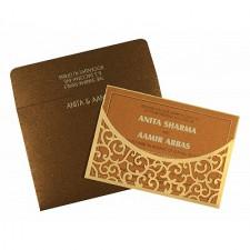 Cream Shimmery Laser Cut Wedding Card : CS-1587 - IndianWeddingCards