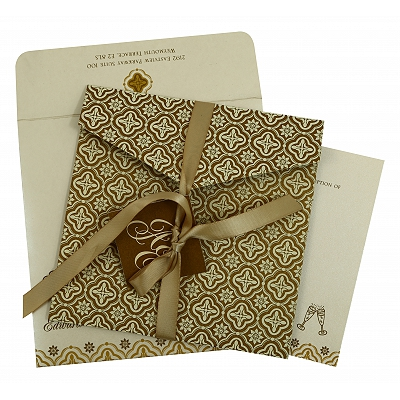 Gold Shimmery Screen Printed Wedding Invitation : CSO-805B - IndianWeddingCards