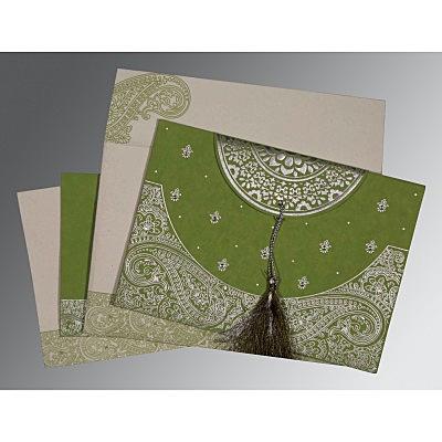Green Handmade Cotton Embossed Wedding Card : CSO-8234C - IndianWeddingCards