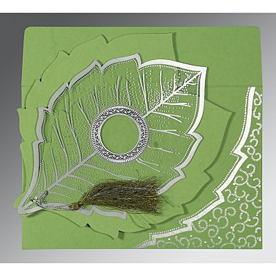 Green Handmade Cotton Floral Themed - Foil Stamped Wedding Card : CC-8219J - IndianWeddingCards