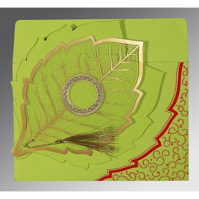 Green Handmade Cotton Floral Themed - Foil Stamped Wedding Card : CD-8219A - IndianWeddingCards