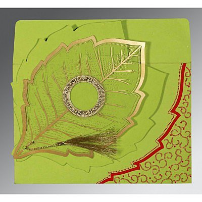 Green Handmade Cotton Floral Themed - Foil Stamped Wedding Card : CW-8219A - IndianWeddingCards