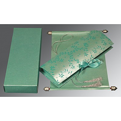 Green Handmade Shimmer Wedding Invitation : CSC-5007L - IndianWeddingCards
