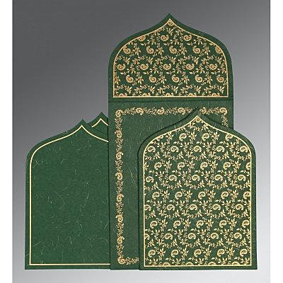 Green Handmade Silk Paisley Themed - Glitter Wedding Invitation : CD-8208L - IndianWeddingCards