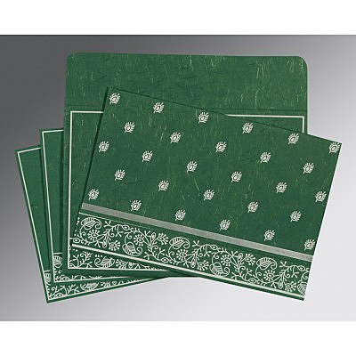 Green Handmade Silk Screen Printed Wedding Card : CC-8215E - IndianWeddingCards