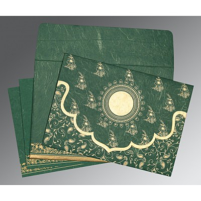 Green Handmade Silk Screen Printed Wedding Invitation : CD-8207L - IndianWeddingCards