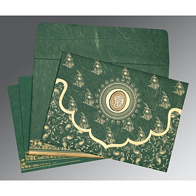 Green Handmade Silk Screen Printed Wedding Invitation : CI-8207L - IndianWeddingCards