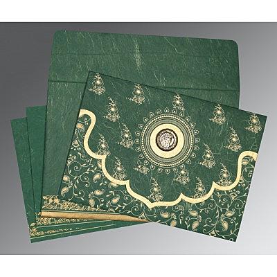 Green Handmade Silk Screen Printed Wedding Invitation : CS-8207L - IndianWeddingCards